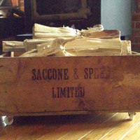 Saccone & Speed Limited, France, Brandy, Wooden Crate Storage Box Wheels Industrial Advertising Rustic Rolling Shipping Container, Chest