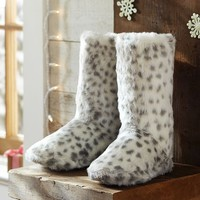 Fur Booties - Grey Leopard