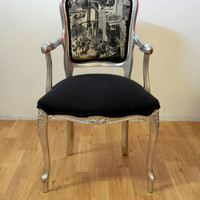 Black & Silver New York City Sepia Antique Louis Armchair