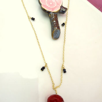 Black pyrite red apple quartz gold dangle necklace, vampire diaries necklace, true blood necklace, vampire Halloween necklace
