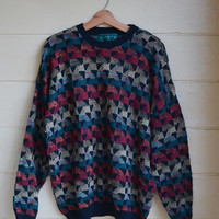 Vintage 80s Men's Pullover Sweater Knit Sweater Oversized Slouchy Sweater Size XL