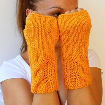 FREE SHIPPING Hand Knitted Cable Marigold Tangerine Orange Yellow Fingerless Gloves Mittens