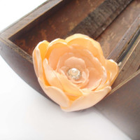 Peach Wedding Flower Clip, Bridal Hair Accessory, Flower Hair Piece, Fascinator