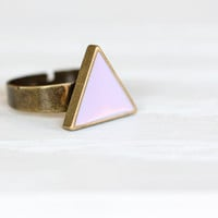 Lilac Triangle Ring in Antique Bronze