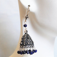 Chandelier Earrings - Sapphire Chandelier Earrings -Blue Earrings- Jhumka Earrings-September Birthstone Earrings
