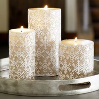 Metallic Snowflake Pillar Candles