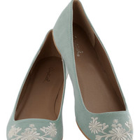 Petal Down the Lane Flat in Sage | Mod Retro Vintage Flats | ModCloth.com