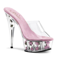 PLEASERs 5 3/4 inch Stiletto Heel Flower Filled Platform Slide Clear/B. Pink Flowers