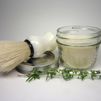 Vegan Lemon & Rosemary Shaving Cream Soap in Jar with Premium Vegan Shaving Brush by Omega Italy