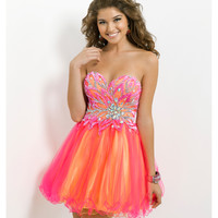 (PRE-ORDER) Blush 2014 Prom Dresses - Hot Pink & Yellow Strapless Short Prom Dress