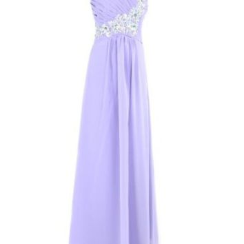 Moonar One Shoulder Beads Prom Gowns Gorgeous Evening Dress Party Gowns