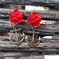 Red Polka Dot Flower with Hanging Anchor Earrings