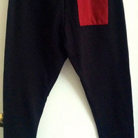 Adult Large Black Hip Hop Style Sweats With Maroon Detail