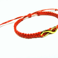 Infinity Bracelet, Red Macrame Hemp Jewelry, Gold Infinity Charm - Ready to Ship
