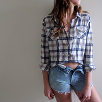 Hi Low Plaid Shirt Flannel Womens High Lo Cropped Crop Top White Tunic Button Up Down Grunge Size Small Medium Western