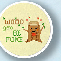 Wood You Be Mine. Cute Wood Stump Pun Cross Stitch PDF Pattern