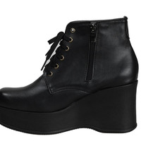 New Womens High-Top Inside Zip Black Platform Wedge Sneakers Shoes K-POP FX Runa
