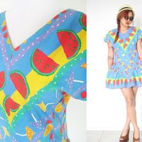 Vintage 70's 80's watermelon fruit print blue drop waist v-neck mini