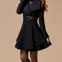 Black Long Coat Winter Coat Woman coat Long Jacket Long Sleeves Golilla Collar Coat Woolen coat M1