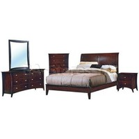 Borgeois Modern Bedroom Set (Bed, Nightstand, Dresser and Mirror) in Merlot Finish | Bedroom sets HE-874LP-Bed-Set/8
