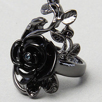 Karmaloop.com - Global Concrete Culture - The Rose Size Ring in Black by Disney Couture Jewelry