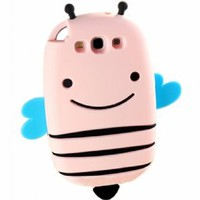 FiveBox 3d Cute Lovely Smile Bee Cartoon Soft Silicone Rubber Gel Case for Samsung Galaxy SIII I9300 (Light pink)