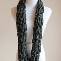 The Chunky Cowl Scarf - charcoal - infinity