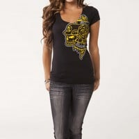 Metal Mulisha MORGAN D DISTANT V-NECK: Maidens Tees Tattoo Series