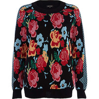 BLACK ROSE PRINT SWEATER