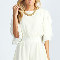 Victoria Waterfall Sleeve Chiffon Playsuit