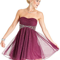 Speechless Juniors Dress, Strapless Glittered Rhinestone A-Line