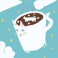 "Cat Giclee Print - ""Hot Chocolate Cat with Marshmallow Cat"""