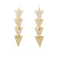 Linked Rhinestone Triangle Earrings: Charlotte Russe
