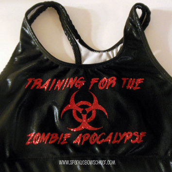 Training for the Zombie Apocalypse Metallic Sports Bra Cheerleading, Yoga, Running, Working Out