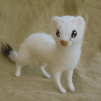 Needle felted animal, ermine weasel stoat