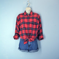Vintage Flannel Shirt Bold Lumberjack Plaid 1980s Blouse Top