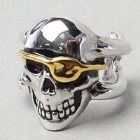 Karmaloop.com - Global Concrete Culture - The Skully Roger Ring in Silver w/ Gold Patch by Han Cholo