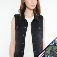 Glamour Kills Clothing - Girls Cruise On Denim Vest + Patch Set Bundle (Black)