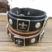 Adjustable Punk Leather Rivets Bracelet  mens bracelet cool bracelet jewelry bracelet bangle bracelet  cuff bracelet 2584S