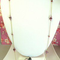 Romantic pink tourmaline Swarovski crystal rosary necklace
