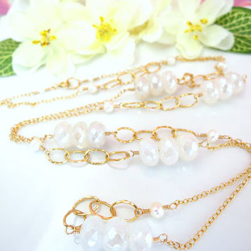 Mystic pearl chalcedony rondelle ivory pearl gold filled rosary necklace