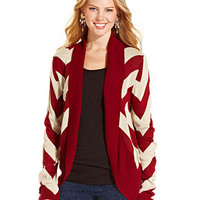 Say What? Juniors Sweater, Long Sleeve Chevron Cardigan