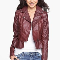 Collection B Faux Leather Peplum Moto Jacket (Juniors) | Nordstrom