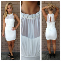 White Holiday Jeweled Mini Dress