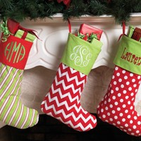 Clearance Last Set of 3 Monogrammed Striped, Chevron, and Dotted Christmas Stockings  25% Off $80.95 Now Only $60.50 Monogramming Included