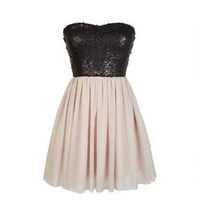 Strapless Sequin Glitter Tulle Dress