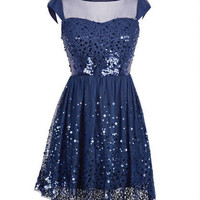 Cap Sleeve Sequin Mesh Dress
