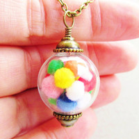 Gumball Machine Glass Orb Necklace In Bronze