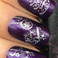 Adored - Nail Art Tatoo/Wrap WATER DECALS TRANSFERS STICKERS SILVER CHRISTMAS TREE/DECORATIONS