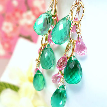 Emerald green quartz hot pink corundrum quartz gold chandelier earrings, pink and green gold chandelier earrings